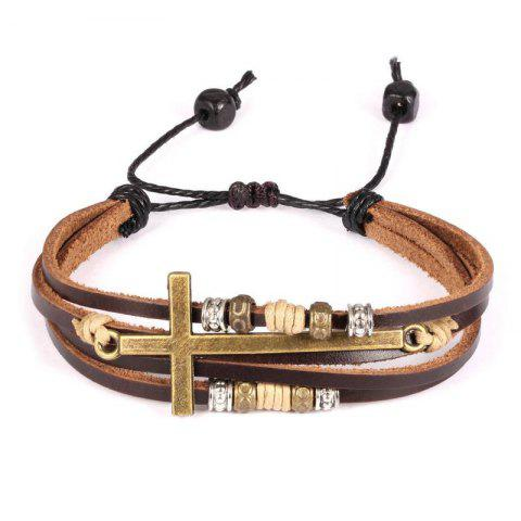 Chic Jewelry Vintage Brown Gold Alloy Leather Bracelet Cross Religious Christian Multi Rope Wrap Bangle Adjustable