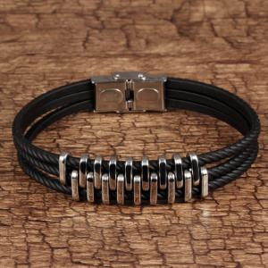 Braided Leather Bracelet for Men Bangle Wrap Stainless Steel Magnetic-Clasp -