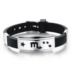 Fashion Stainless Steel Magnetic Clasp Leather Wristband Bracelet -