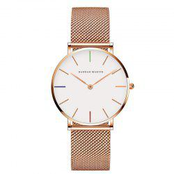 Hannah Martin Lady Stainless Steel Mesh Waterproof Fashion Casual Thin Quartz Watch -