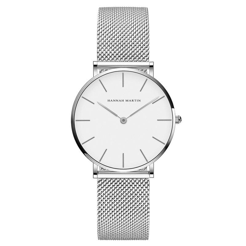 Outfit Hannah Martin Lady Stainless Steel Mesh Waterproof Fashion Casual Thin Quartz Watch