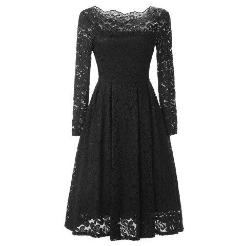 Buy Women Long Sleeve Off Shoulder Vintage Lace Tunic Dresses