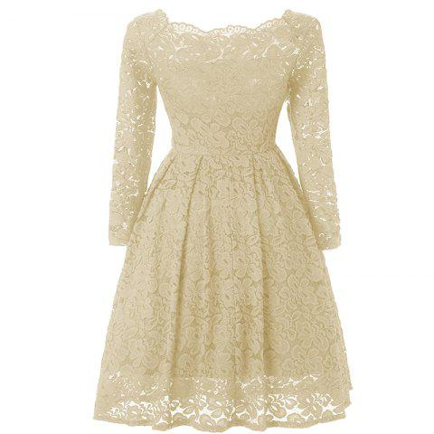 Latest Women Long Sleeve Off Shoulder Vintage Lace Tunic Dresses
