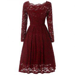 Women Long Sleeve Off Shoulder Lace Tunic Dresses -