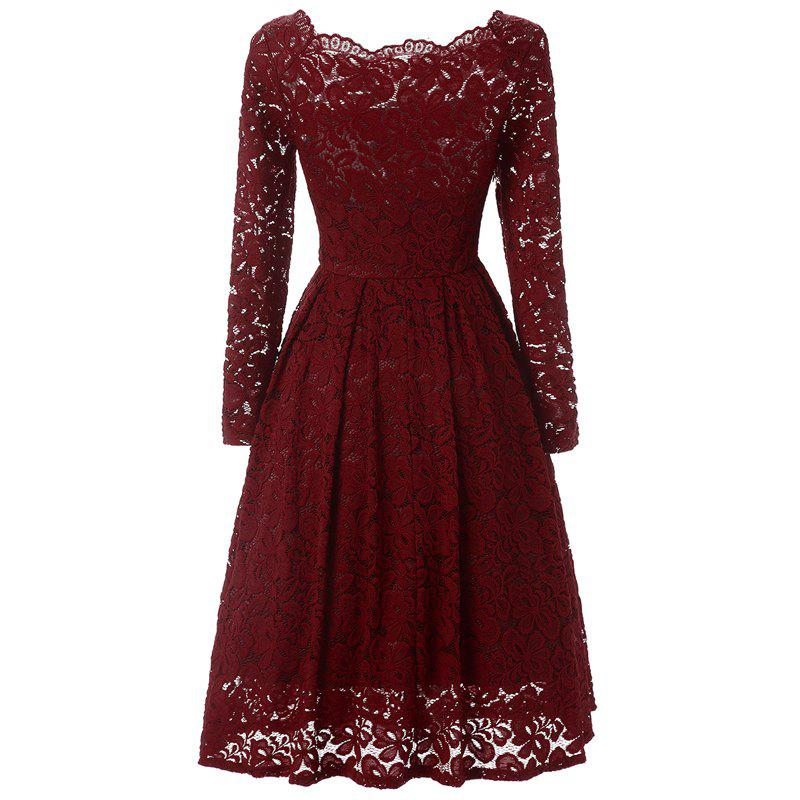 New Women Long Sleeve Off Shoulder Lace Tunic Dresses