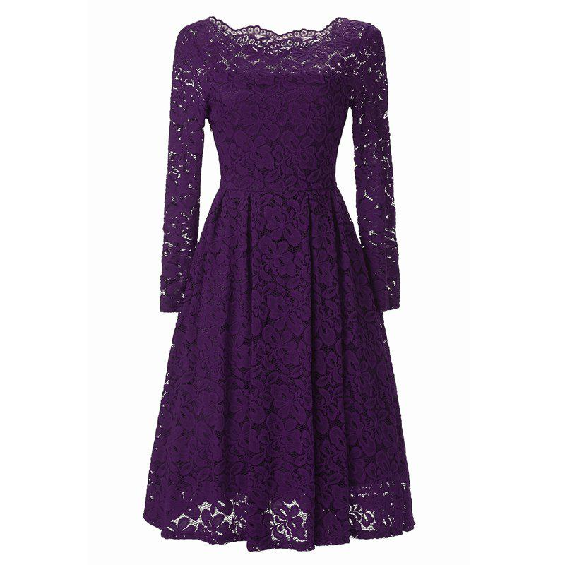 Chic Women Long Sleeve Off Shoulder Lace Tunic Dresses