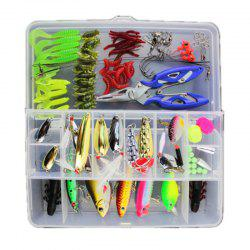 101PCS Set Bionic Fishing Lure Minnow Crank Spoon Bait Spinner Soft Grubs Креветки -