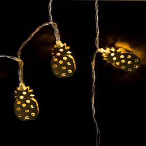 Iron Golden Pineapple Christmas String Lights Fairy LED Home Decor Light Home Garden of Battery Powered 1.65M 10 LED -