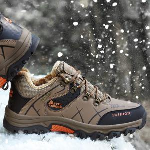 ZEACAVA Plush Spring and Warm Leather Winter  Anti-Skidding Winter Boots -
