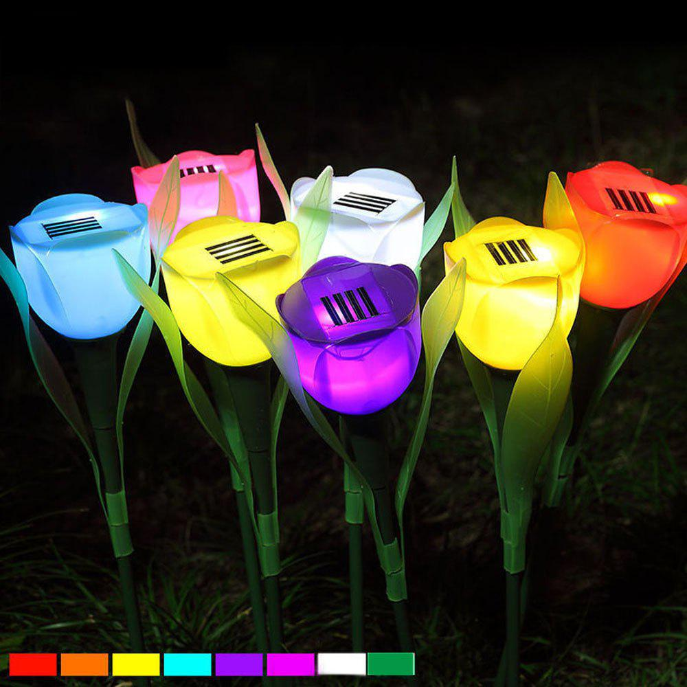 Shops 6PCS/SET Colors Outdoor Solar Light Powered Tulip Flower LED Light Yard Garden Path Way Lamp
