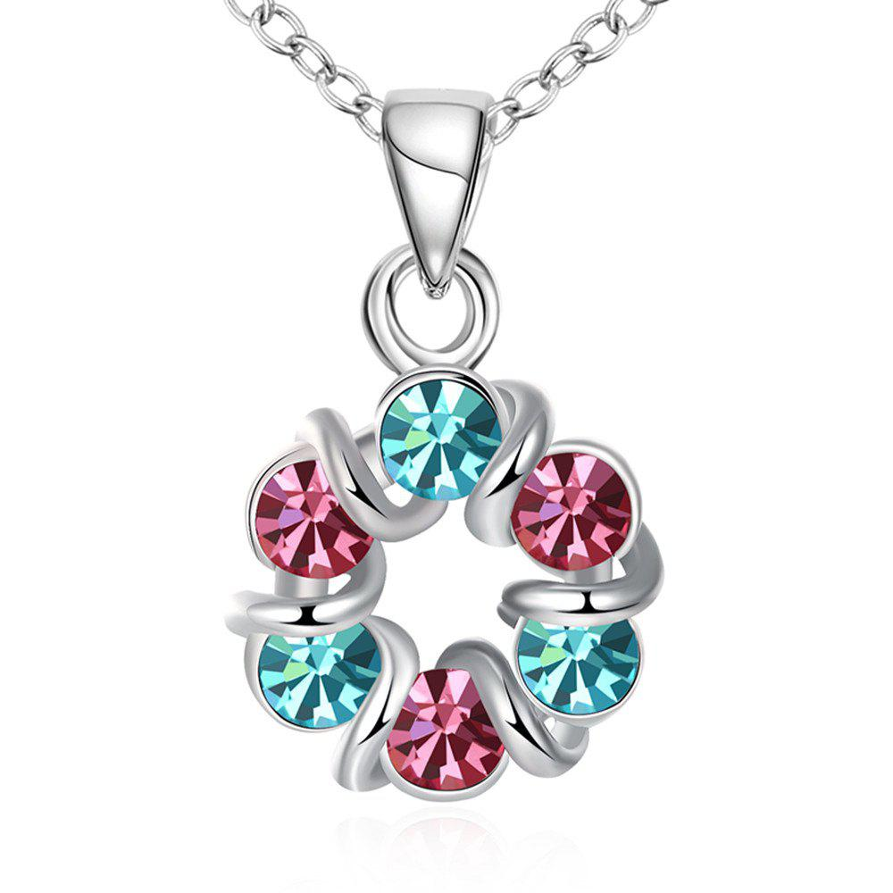 Chic Multicolor Romantic Wreath Shape Pendant Necklace Charm Jewelry
