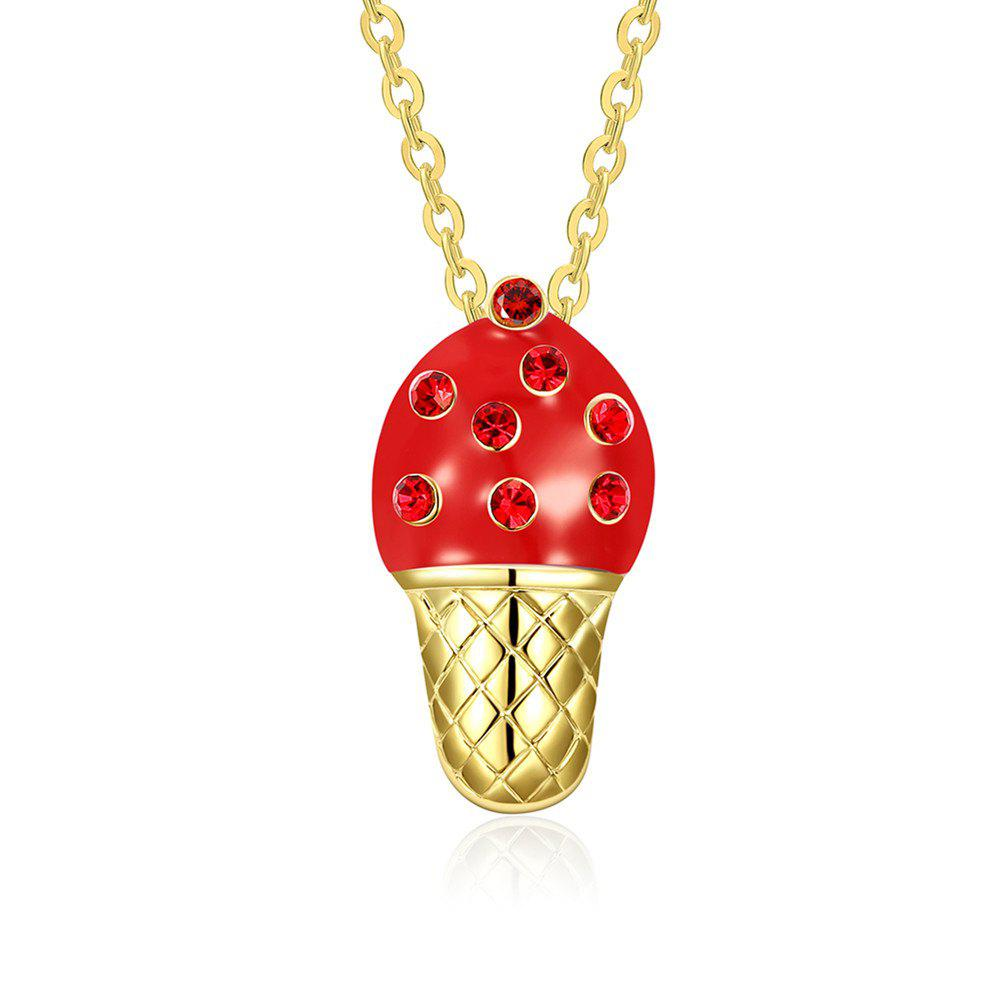 Shops Fashion Ice Cream Shape Rhinestone Pendant Necklace Charm Jewelry