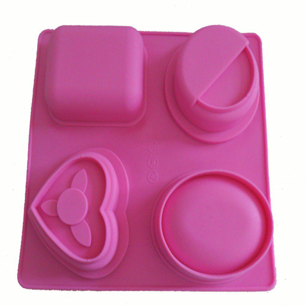 Shop Silica Gel Geometry Love 4-hole Chocolate Cake Mold