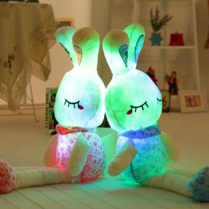 Glowing Long Legs Rabbit Plush Toy Inductive Luminous with LED Lights Doll for Kids -
