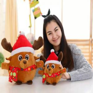 Glowing Christmas Elk Santa Claus Plush Toy Inductive Luminous with LED Lights Doll for Kids -