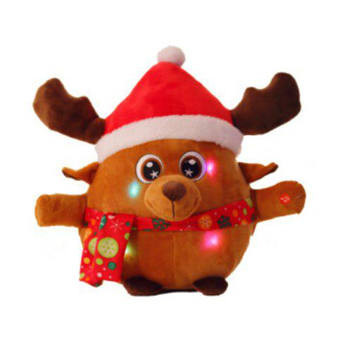 Unique Glowing Christmas Elk Santa Claus Plush Toy Inductive Luminous with LED Lights Doll for Kids