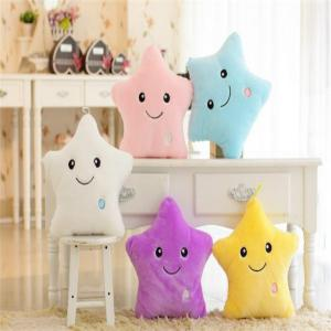 Glowing Pentagrams Pillow Plush Toy Inductive Luminous with LED Lights Doll for Kids -