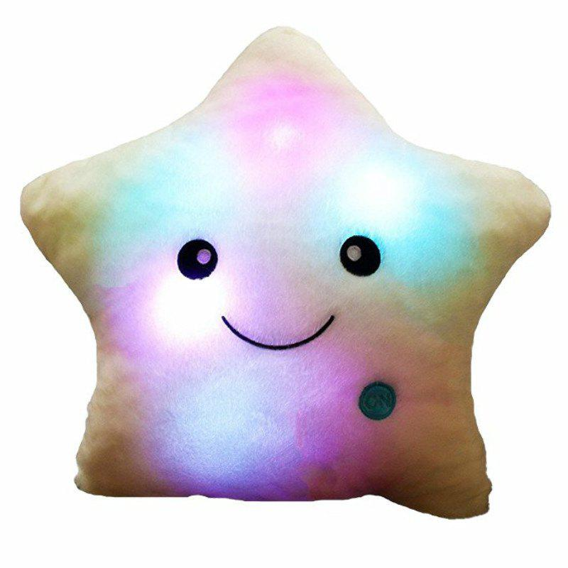 Cheap Glowing Pentagrams Pillow Plush Toy Inductive Luminous with LED Lights Doll for Kids