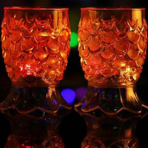 Creative Gifts High Footed Pineapple  Colorful Light Glass Sensory Water Cup -