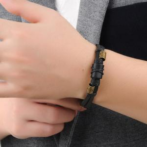 Men's Two Lines Leather Braided Bracelet Bangle -