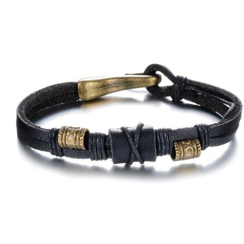 Latest Men's Two Lines Leather Braided Bracelet Bangle