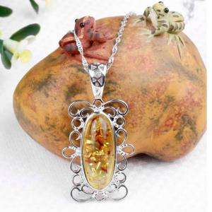 Amber Silver Pendant36097 Gift Jewelry -