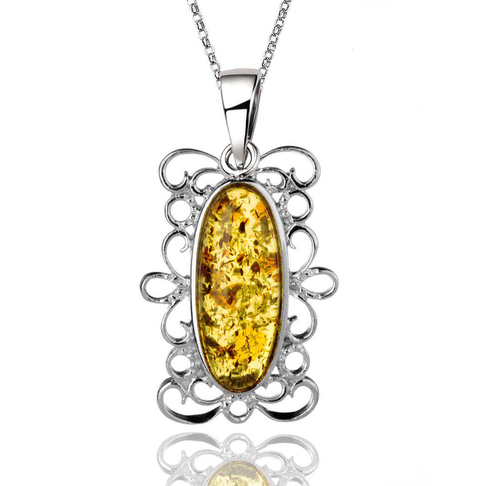Fancy Amber Silver Pendant36097 Gift Jewelry