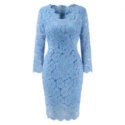 2018 Women's Bodycon Hollow Out V-Neck Lace Party Dress -