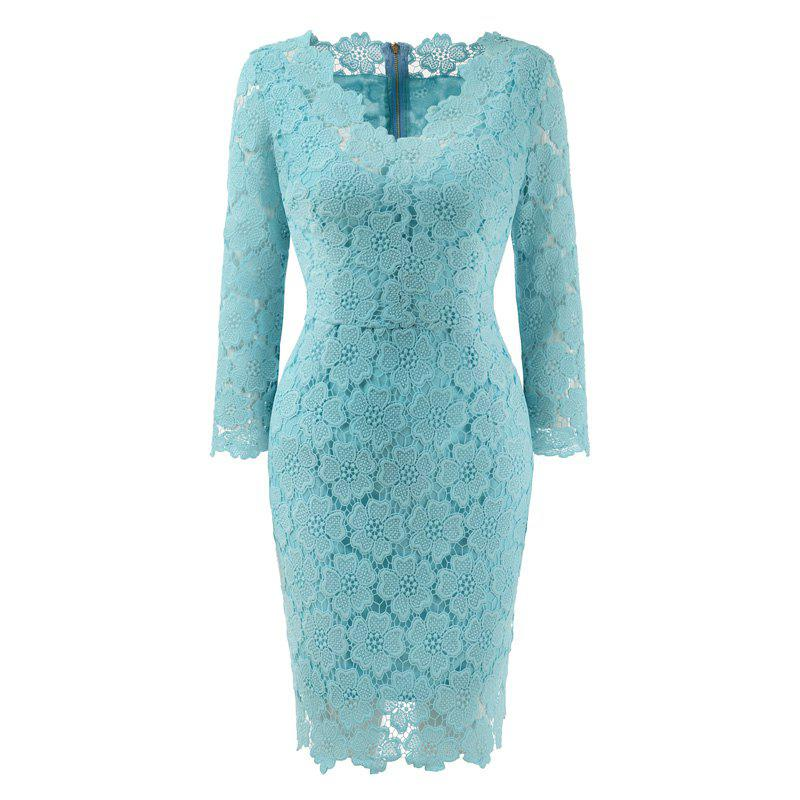 Best 2018 Women's Bodycon Hollow Out V-Neck Lace Party Dress