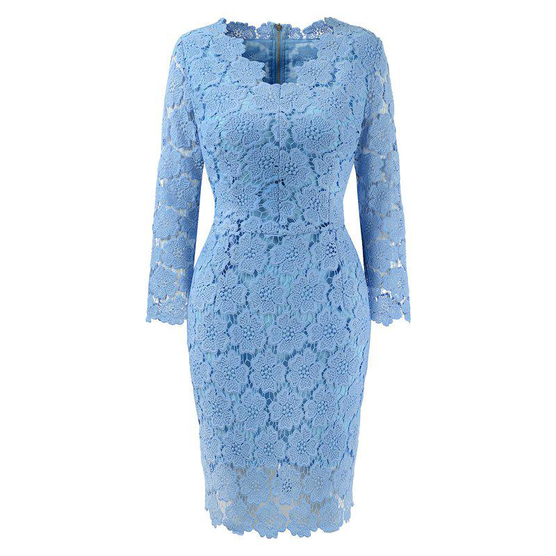 Outfit 2018 Women's Bodycon Hollow Out V-Neck Lace Party Dress