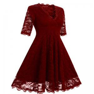 Women's Vintage Floral Crochet V-Neck Evening Party Lace Dress -