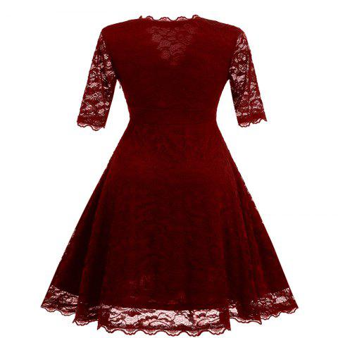 Unique Women's Vintage Floral Crochet V-Neck Evening Party Lace Dress