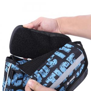 B - SOUL Bicycle Frame Pannier Saddle Touch Screen Phone Bag  -  BLUE AND BLACK -