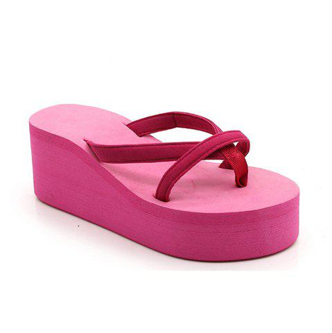 Fancy Ladies Solid Color Beach Sandals Fashion Thick Bottom Slippers