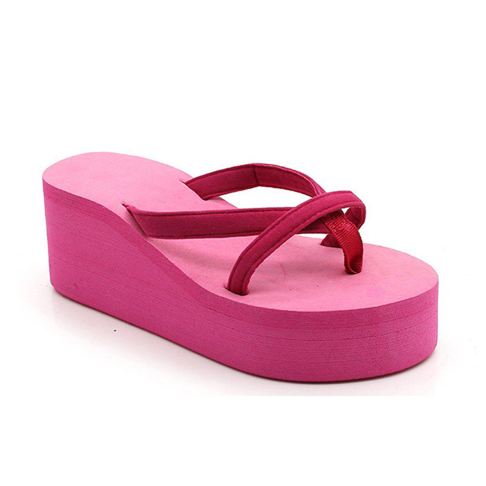 Trendy Ladies Solid Color Beach Sandals Fashion Thick Bottom Slippers