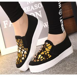Women Sequined Canvas Shoes Casual Slip-on Sneakers -