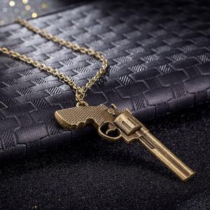 Vintage Punk Style Gun Shape Pendant Necklace Charm Jewelry -