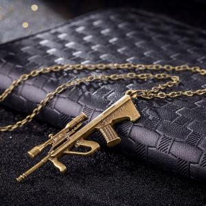 Vintage Punk Style Sniper Rifle Gun Shape Pendant Alloy Necklace Charm Jewelry -