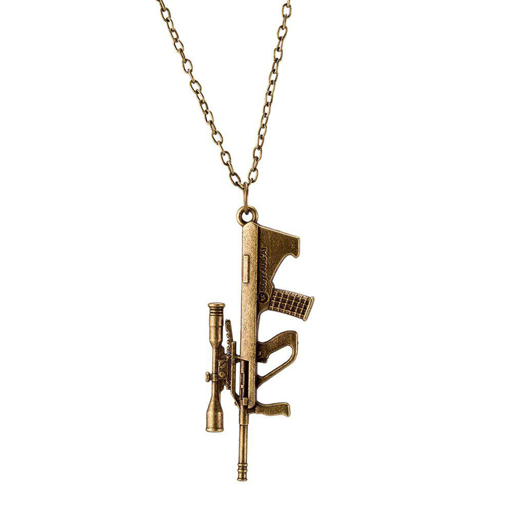 Cheap Vintage Punk Style Sniper Rifle Gun Shape Pendant Alloy Necklace Charm Jewelry