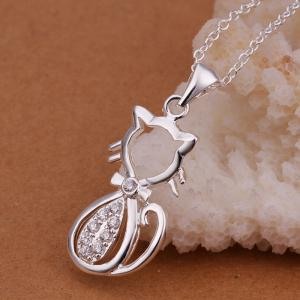 Mode Zircon Lovely Chat Forme Pendentif Collier Charme Bijoux -