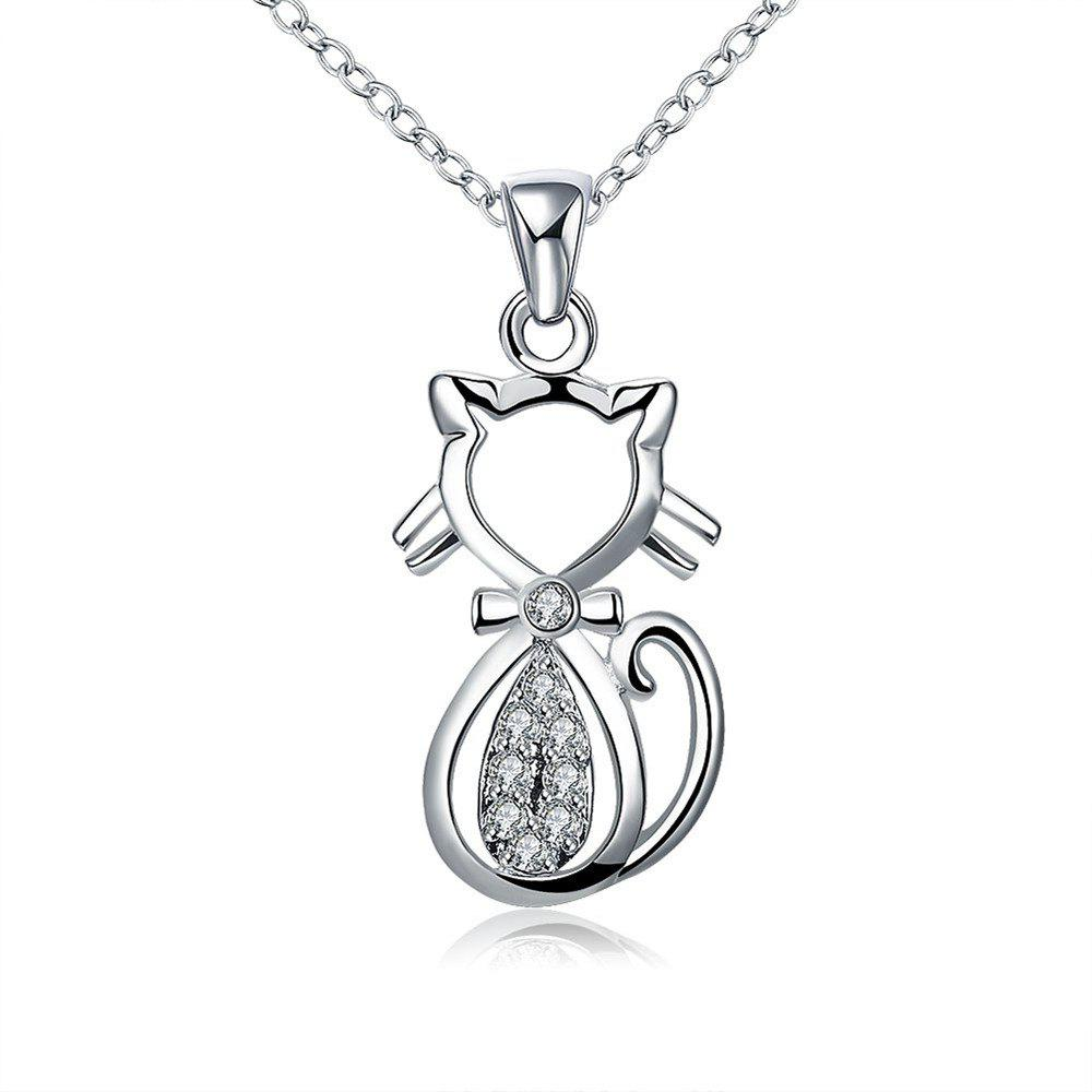 Mode Zircon Lovely Chat Forme Pendentif Collier Charme Bijoux