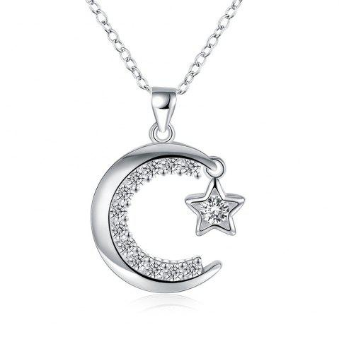 Latest Fashion Moon and Star Zircon Alloy Pendant Necklace Charm Jewelry