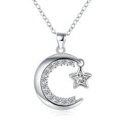 Fashion Moon and Star Zircon Alloy Pendant Necklace Charm Jewelry -