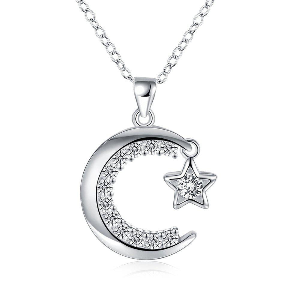 Latest Fashion Moon and Star Pendant Necklace Charm Jewelry