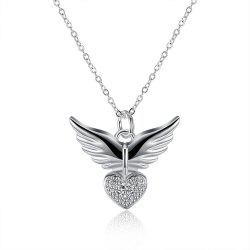 Fashion Heart Shape Zircon Pendant Necklace Charm Jewelry -