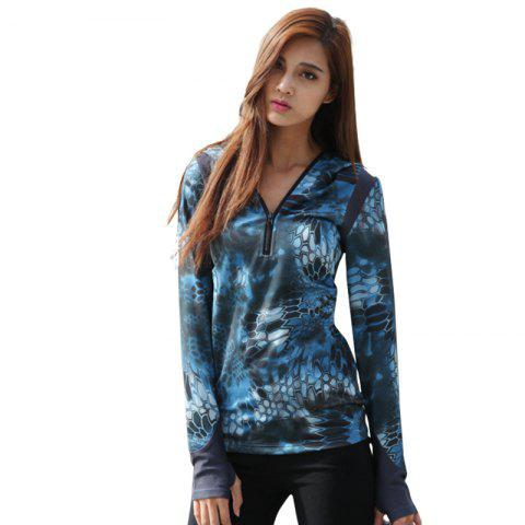Store Python Pattern Camouflage Movement Slim Quick Dry Female Models Long Sleeves Hoodies
