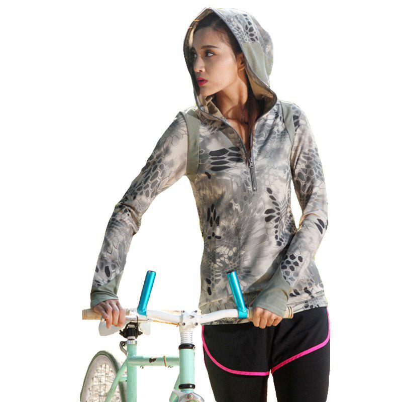 New Python Pattern Camouflage Movement Slim Quick Dry Female Models Long Sleeves Hoodies