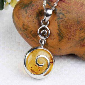Amber Silver Pendant36105 Gift Jewelry -