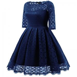 Women's Vintage Floral Half Sleeve Flare Cocktail Party Dress -
