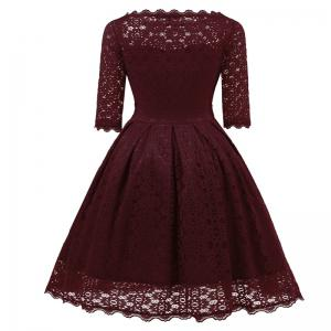 Женское Vintage Floral Half Sleeve Flare Cocktail Party Dress -